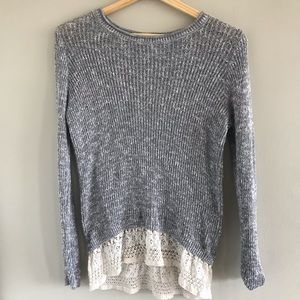 Hollister Grey Lace Sweater